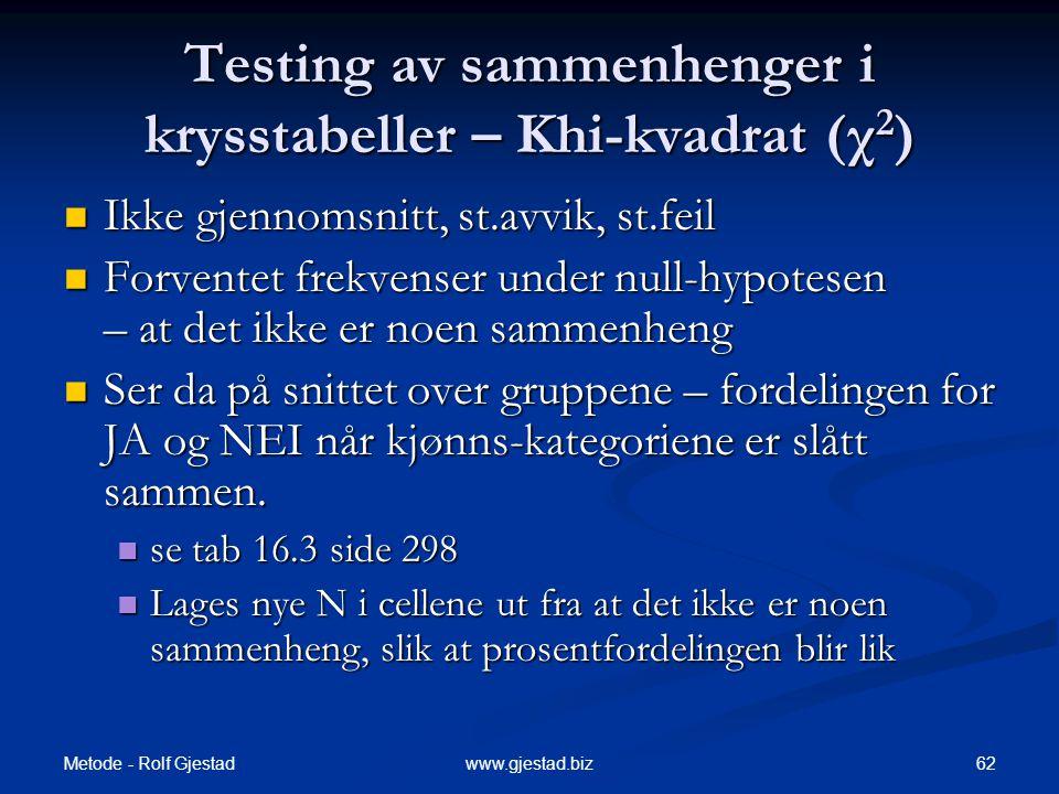 Metode - Rolf Gjestad 62www.gjestad.biz Testing av sammenhenger i krysstabeller – Khi-kvadrat (χ 2 )  Ikke gjennomsnitt, st.avvik, st.feil  Forvente