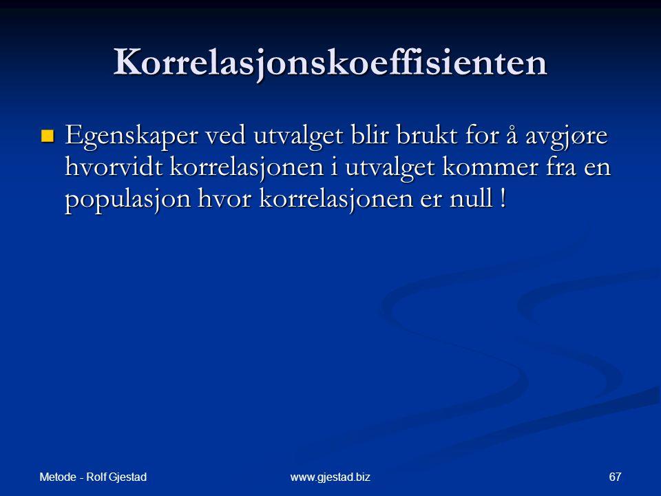 Metode - Rolf Gjestad 67www.gjestad.biz Korrelasjonskoeffisienten  Egenskaper ved utvalget blir brukt for å avgjøre hvorvidt korrelasjonen i utvalget