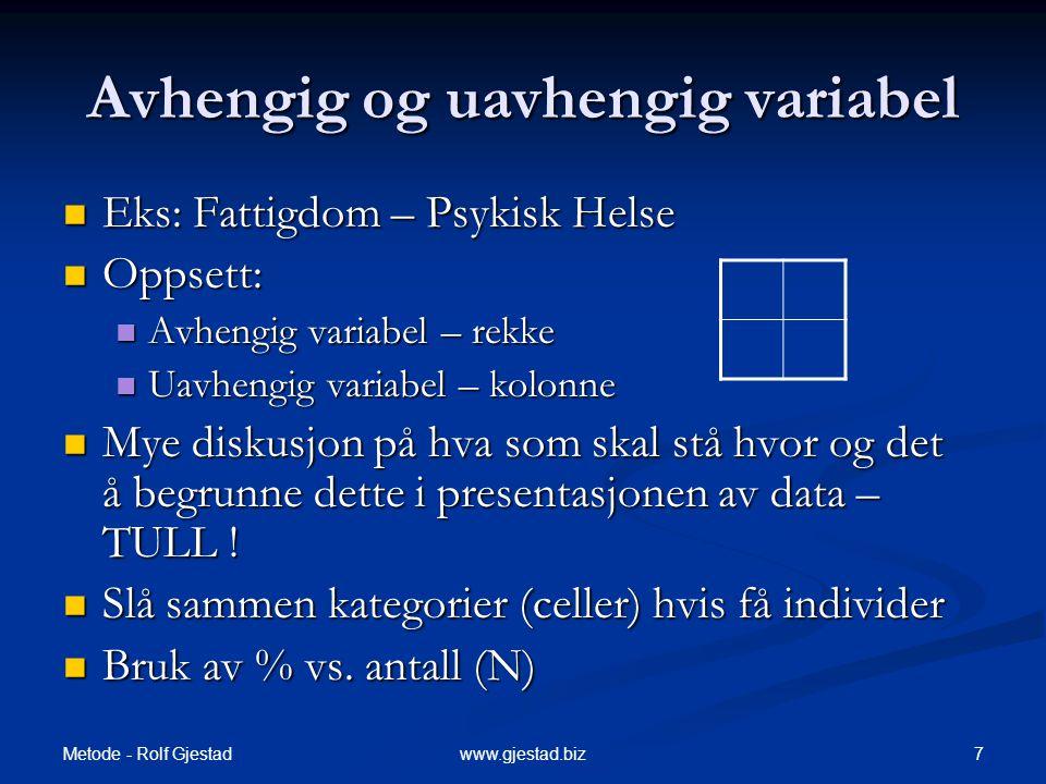 Metode - Rolf Gjestad 7www.gjestad.biz Avhengig og uavhengig variabel  Eks: Fattigdom – Psykisk Helse  Oppsett:  Avhengig variabel – rekke  Uavhen