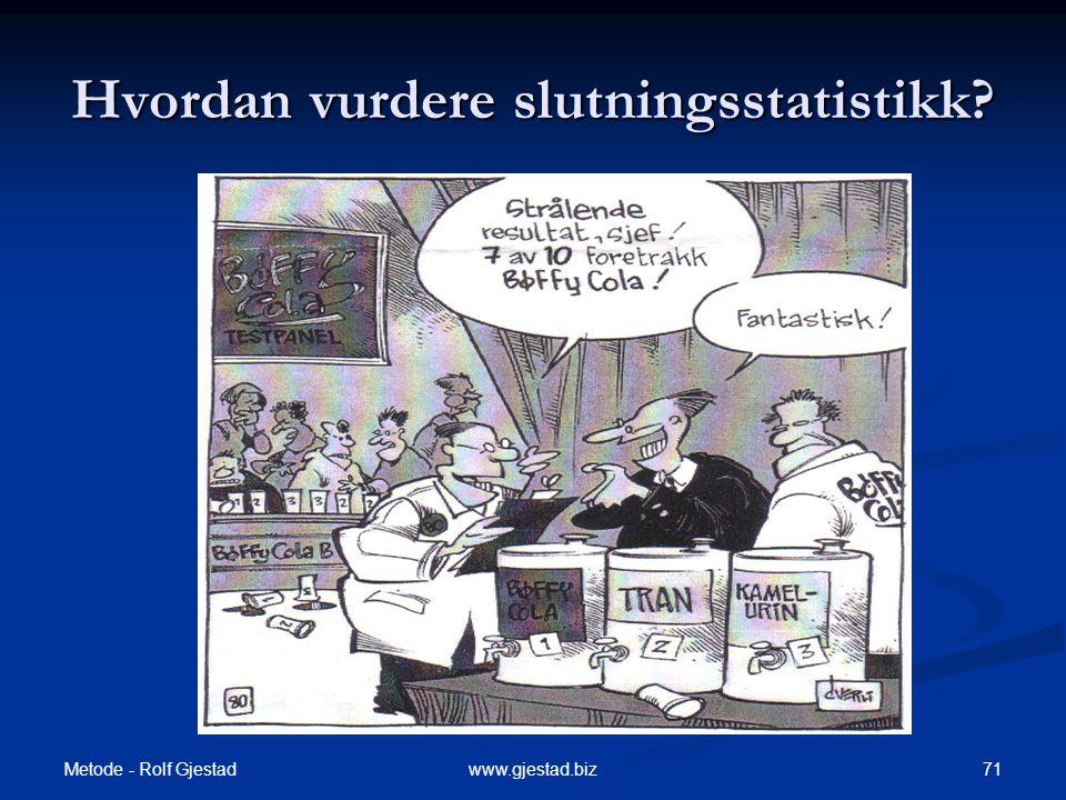 Metode - Rolf Gjestad 71www.gjestad.biz Hvordan vurdere slutningsstatistikk?