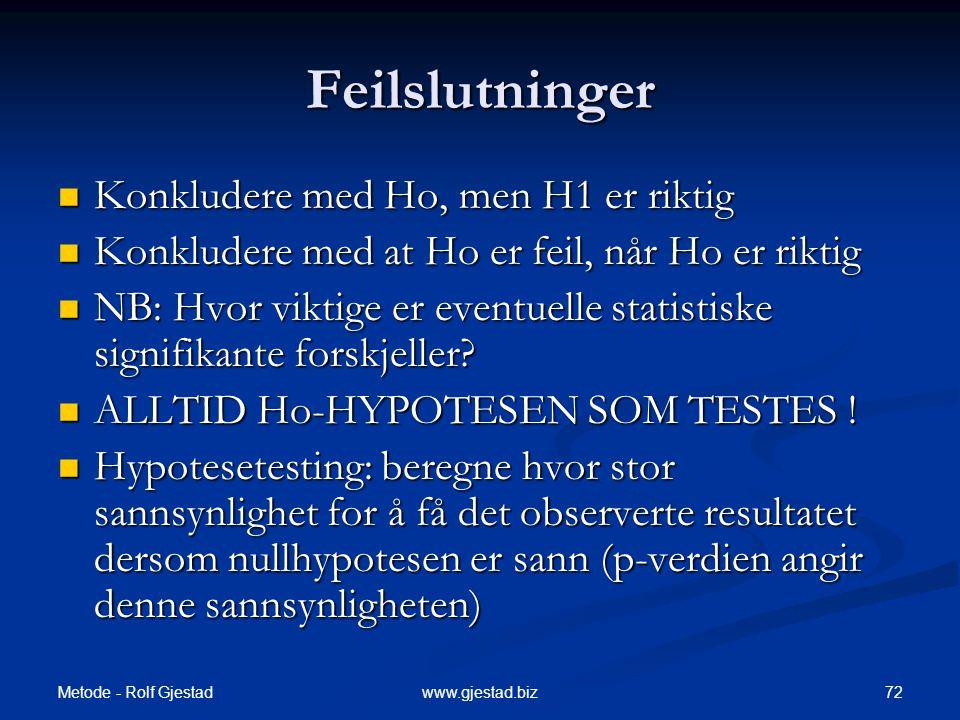 Metode - Rolf Gjestad 72www.gjestad.biz Feilslutninger  Konkludere med Ho, men H1 er riktig  Konkludere med at Ho er feil, når Ho er riktig  NB: Hv