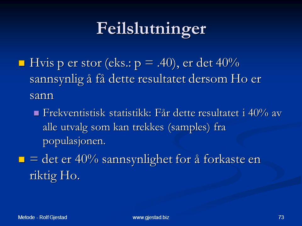 Metode - Rolf Gjestad 73www.gjestad.biz Feilslutninger  Hvis p er stor (eks.: p =.40), er det 40% sannsynlig å få dette resultatet dersom Ho er sann
