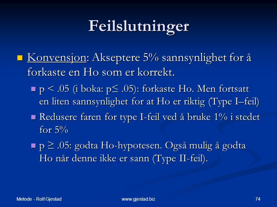 Metode - Rolf Gjestad 74www.gjestad.biz Feilslutninger  Konvensjon: Akseptere 5% sannsynlighet for å forkaste en Ho som er korrekt.  p <.05 (i boka: