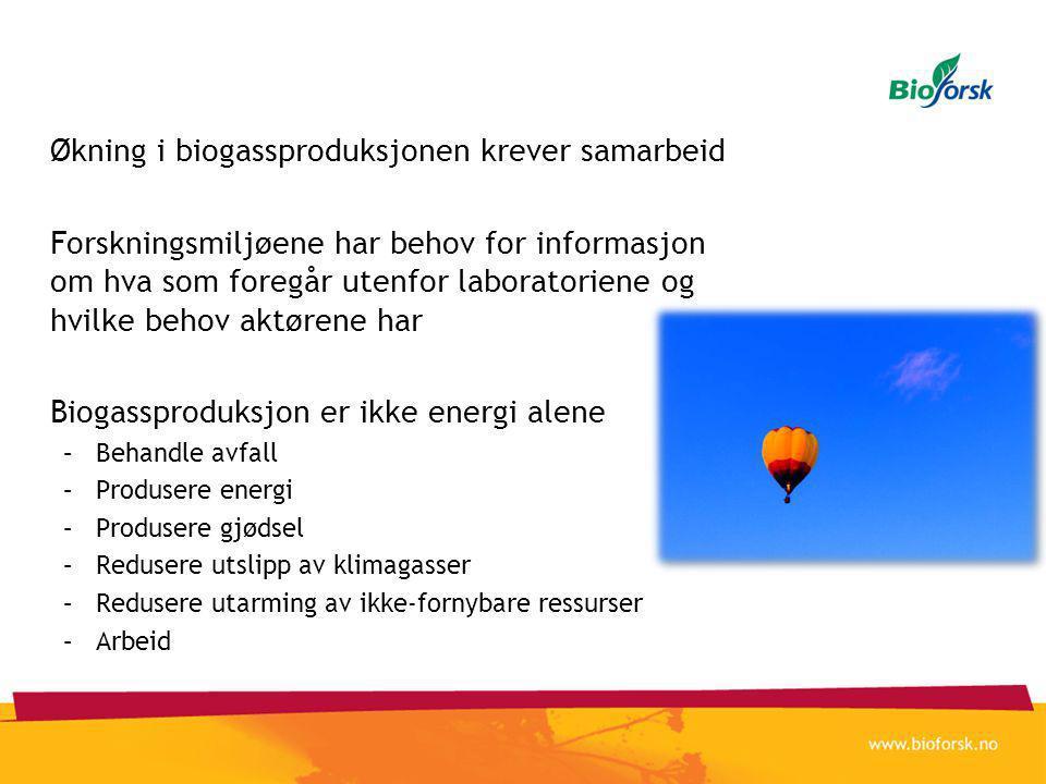 Økning i biogassproduksjonen krever samarbeid Forskningsmiljøene har behov for informasjon om hva som foregår utenfor laboratoriene og hvilke behov aktørene har Biogassproduksjon er ikke energi alene –Behandle avfall –Produsere energi –Produsere gjødsel –Redusere utslipp av klimagasser –Redusere utarming av ikke-fornybare ressurser –Arbeid