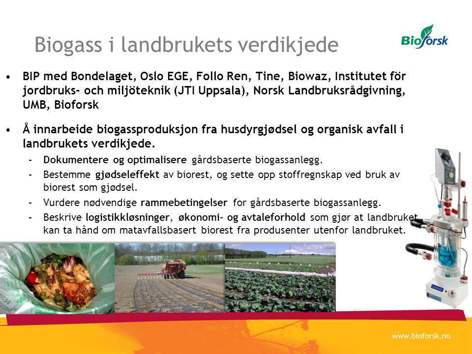 Biogass i landbrukets verdikjede •BIP med Bondelaget, Oslo EGE, Follo Ren, Tine, Biowaz, Institutet för jordbruks- och miljöteknik (JTI Uppsala), Norsk Landbruksrådgivning, UMB, Bioforsk •Å innarbeide biogassproduksjon fra husdyrgjødsel og organisk avfall i landbrukets verdikjede.