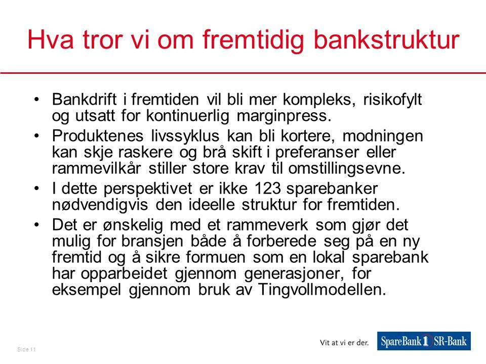 Side 11 Hva tror vi om fremtidig bankstruktur •Bankdrift i fremtiden vil bli mer kompleks, risikofylt og utsatt for kontinuerlig marginpress. •Produkt