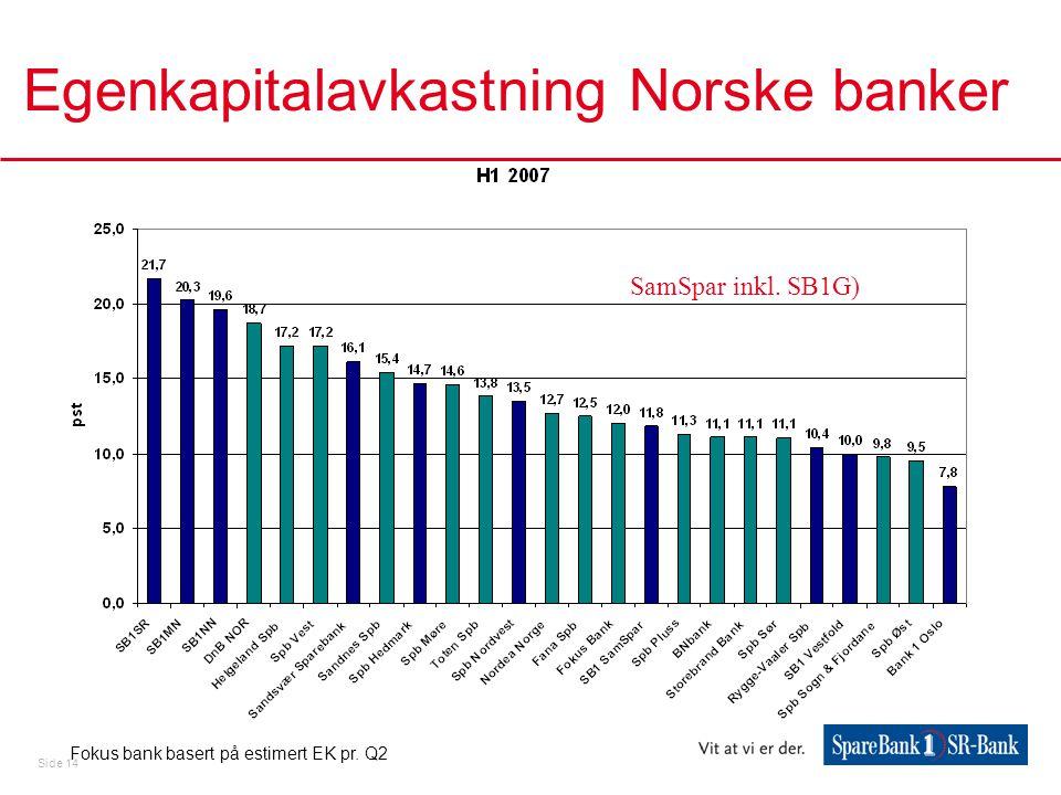 Side 14 Egenkapitalavkastning Norske banker Fokus bank basert på estimert EK pr.