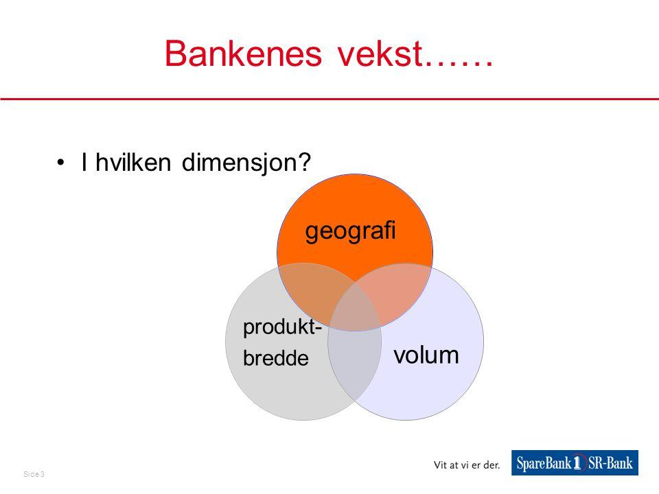 Side 3 Bankenes vekst…… •I hvilken dimensjon? produkt- bredde volum geografi