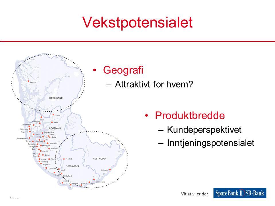 Side 6 Vekstpotensialet •Geografi –Attraktivt for hvem? •Produktbredde –Kundeperspektivet –Inntjeningspotensialet