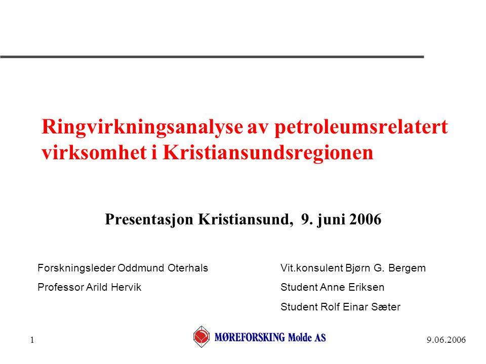 9.06.20062 Bakgrunn - gjennomføring  Mange har etterlyst en samlet oversikt over den totale petroleums- relaterte virksomheten i lokalregionen Kristiansund, Frei og Averøy, inklusive regionale ringvirkninger, for å skaffe oversikt over samlet sysselsetting og verdiskaping  Initiativ tatt av Vestbase, Kom vekst og Kristiansund Kommune, med økonomisk bidrag også fra Møre og Romsdal Fylke og oljeselskapene Statoil, Shell og Hydro  Arbeidet er utført av fagpersonell ved MFM, studenter ved petroleumslogistikkstudiet i Kristiansund, i samarbeid med en arbeidsgruppe med deltakere fra initiativtakerne  Analysen er basert på besvarte spørreskjema fra 81 av 94 bedrifter - for de øvrige er det brukt tilgjengelig regnskapsinformasjon og stipulerte data  Resultatene vil bli dokumentert i en egen Møreforsking-rapport