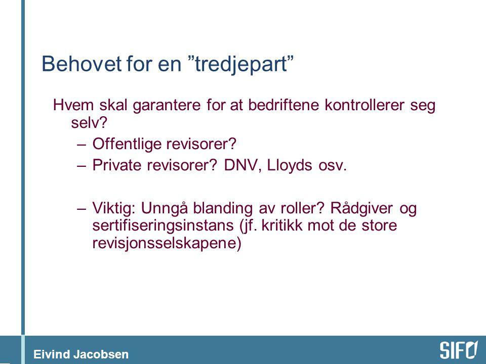 """Eivind Jacobsen Behovet for en """"tredjepart"""" Hvem skal garantere for at bedriftene kontrollerer seg selv? –Offentlige revisorer? –Private revisorer? DN"""