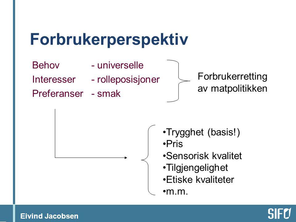 Eivind Jacobsen Forbrukerperspektiv Behov- universelle Interesser- rolleposisjoner Preferanser- smak Forbrukerretting av matpolitikken •Trygghet (basi