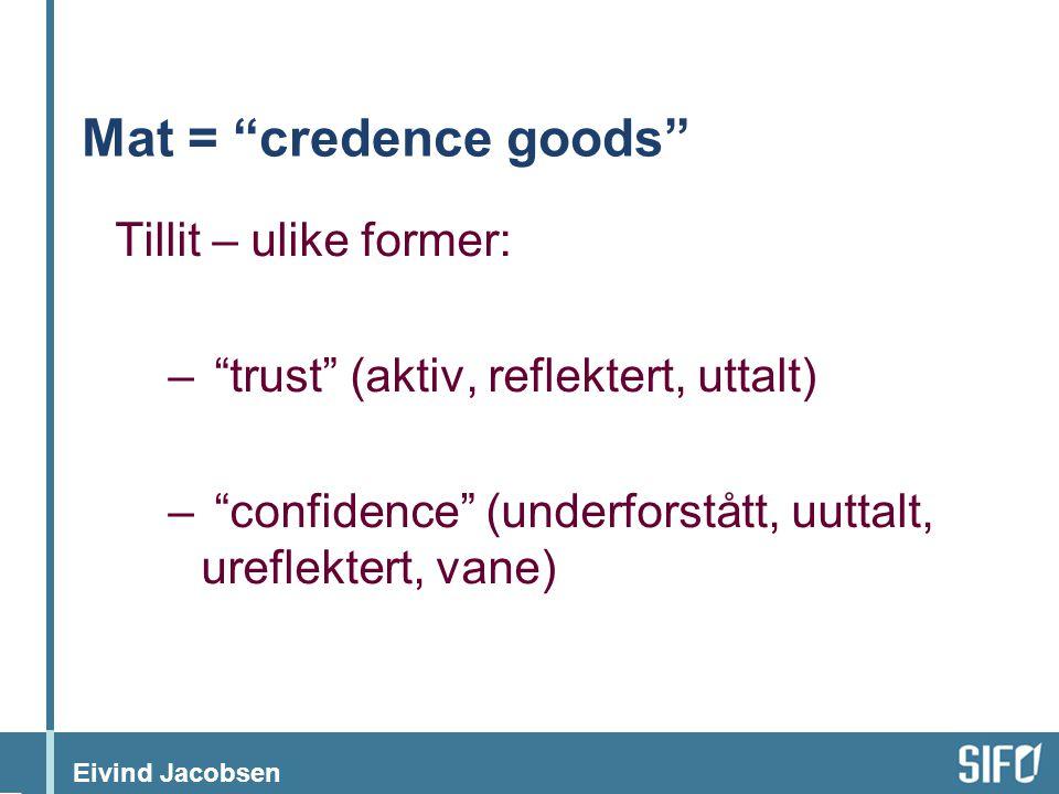 """Eivind Jacobsen Mat = """"credence goods"""" Tillit – ulike former: – """"trust"""" (aktiv, reflektert, uttalt) – """"confidence"""" (underforstått, uuttalt, ureflekter"""