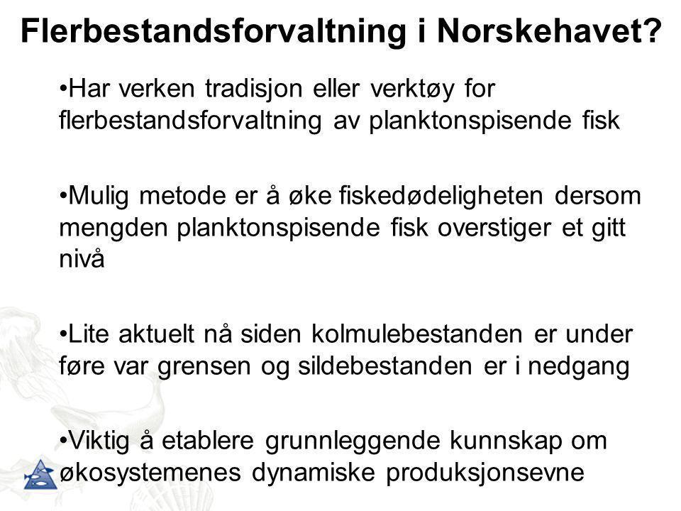 Flerbestandsforvaltning i Norskehavet? •Har verken tradisjon eller verktøy for flerbestandsforvaltning av planktonspisende fisk •Mulig metode er å øke