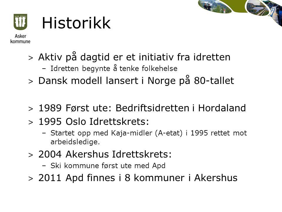Historikk > Aktiv på dagtid er et initiativ fra idretten –Idretten begynte å tenke folkehelse > Dansk modell lansert i Norge på 80-tallet > 1989 Først