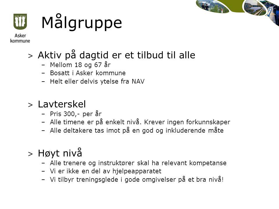 Målgruppe > Aktiv på dagtid er et tilbud til alle –Mellom 18 og 67 år –Bosatt i Asker kommune –Helt eller delvis ytelse fra NAV > Lavterskel –Pris 300