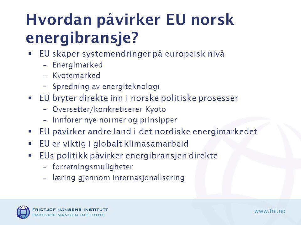 Hvordan påvirker EU norsk energibransje.