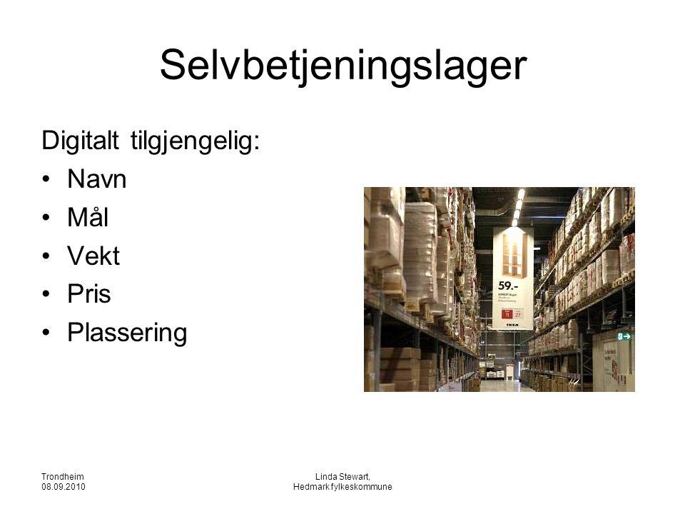 Trondheim 08.09.2010 Linda Stewart, Hedmark fylkeskommune Selvbetjeningslager Digitalt tilgjengelig: •Navn •Mål •Vekt •Pris •Plassering