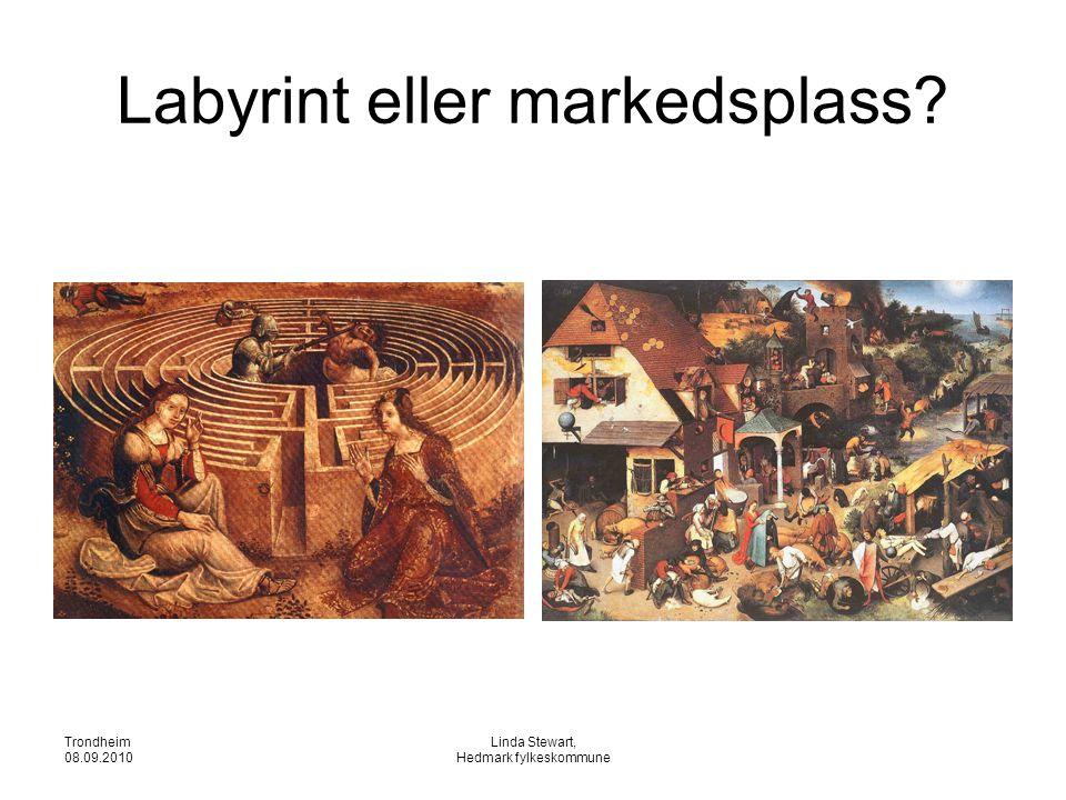 Trondheim 08.09.2010 Linda Stewart, Hedmark fylkeskommune Labyrint eller markedsplass?