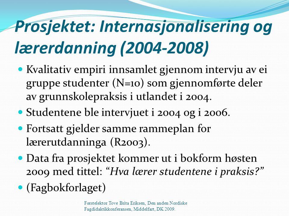 Prosjektet: Internasjonalisering og lærerdanning (2004-2008)  Kvalitativ empiri innsamlet gjennom intervju av ei gruppe studenter (N=10) som gjennomførte deler av grunnskolepraksis i utlandet i 2004.