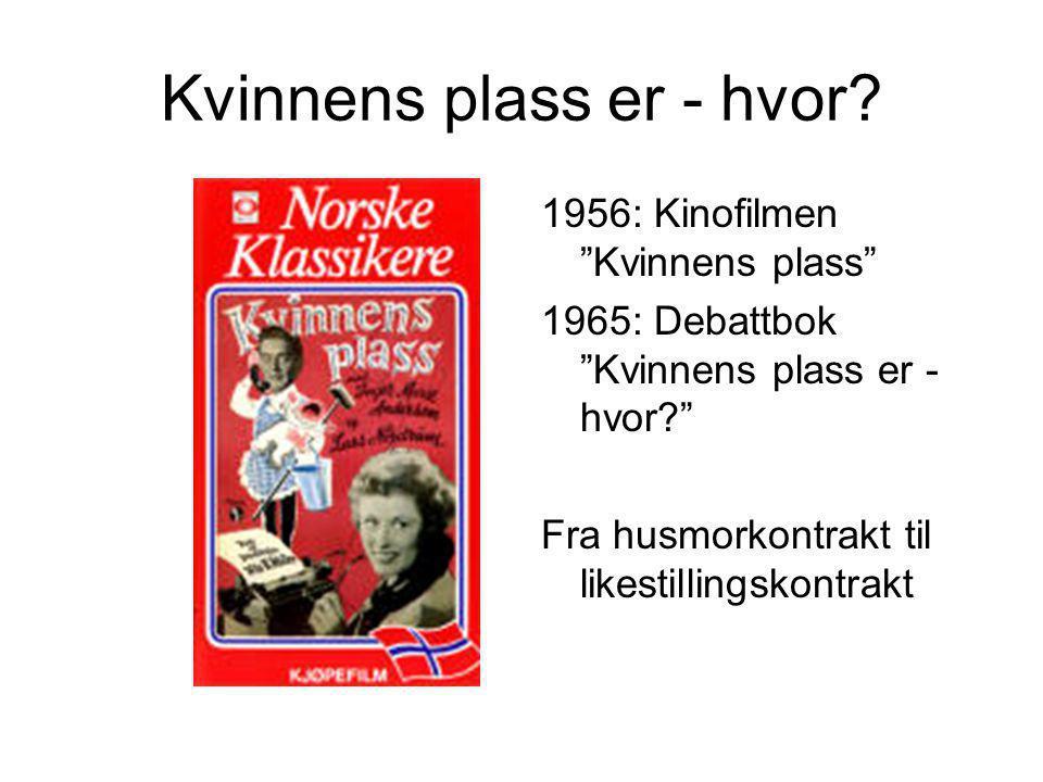 """Kvinnens plass er - hvor? 1956: Kinofilmen """"Kvinnens plass"""" 1965: Debattbok """"Kvinnens plass er - hvor?"""" Fra husmorkontrakt til likestillingskontrakt"""