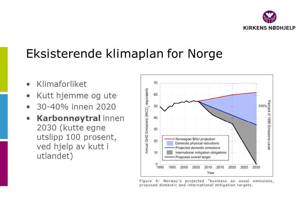 Eksisterende klimaplan for Norge •Klimaforliket •Kutt hjemme og ute •30-40% innen 2020 •Karbonnøytral innen 2030 (kutte egne utslipp 100 prosent, ved hjelp av kutt i utlandet)