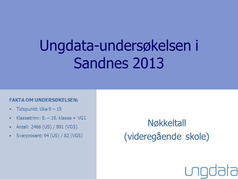 Ungdata-undersøkelsen i Sandnes 2013 Nøkkeltall (videregående skole) FAKTA OM UNDERSØKELSEN: •Tidspunkt: Uke 9 – 15 •Klassetrinn: 8.