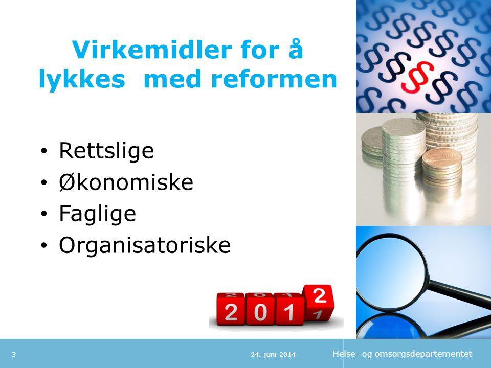 Helse- og omsorgsdepartementet Virkemidler for å lykkes med reformen • Rettslige • Økonomiske • Faglige • Organisatoriske 324. juni 2014