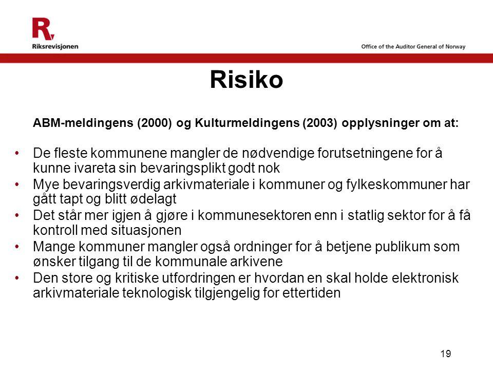 19 Risiko ABM-meldingens (2000) og Kulturmeldingens (2003) opplysninger om at: •De fleste kommunene mangler de nødvendige forutsetningene for å kunne