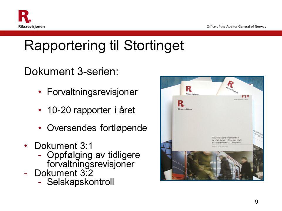 9 Rapportering til Stortinget Dokument 3-serien: •Forvaltningsrevisjoner •10-20 rapporter i året •Oversendes fortløpende •Dokument 3:1 -Oppfølging av