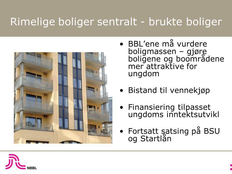 Rimelige boliger sentralt - brukte boliger •BBL'ene må vurdere boligmassen – gjøre boligene og boområdene mer attraktive for ungdom •Bistand til venne