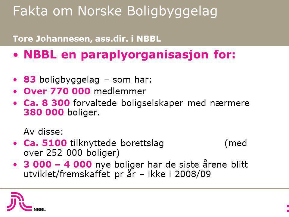 Fakta om Norske Boligbyggelag Tore Johannesen, ass.dir. i NBBL •NBBL en paraplyorganisasjon for: •83 boligbyggelag – som har: •Over 770 000 medlemmer