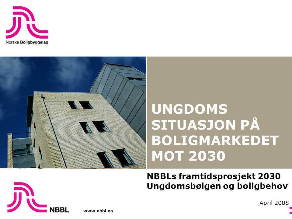 www.nbbl.no UNGDOMS SITUASJON PÅ BOLIGMARKEDET MOT 2030 NBBLs framtidsprosjekt 2030 Ungdomsbølgen og boligbehov April 2008