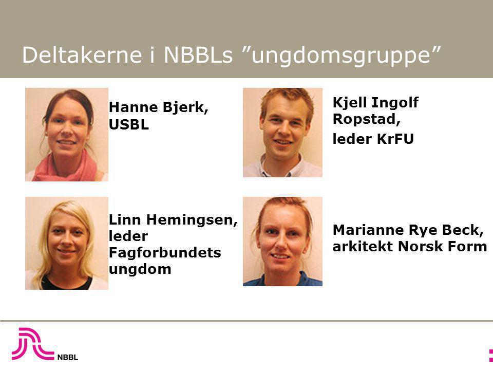 Deltakerne i NBBLs ungdomsgruppe Hanne Bjerk, USBL Linn Hemingsen, leder Fagforbundets ungdom Kjell Ingolf Ropstad, leder KrFU Marianne Rye Beck, arkitekt Norsk Form