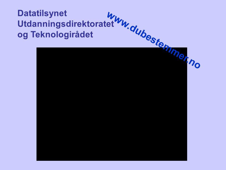 Datatilsynet Utdanningsdirektoratet og Teknologirådet www.dubestemmer.no