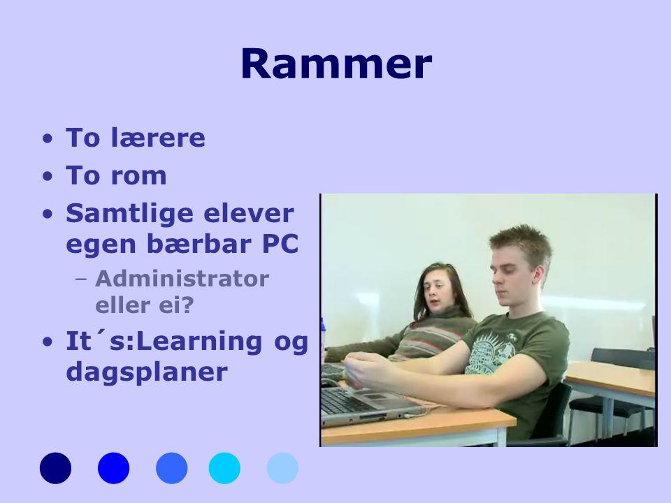 Rammer •To lærere •To rom •Samtlige elever egen bærbar PC –Administrator eller ei? •It´s:Learning og dagsplaner