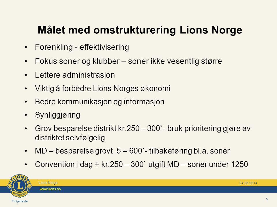 Til tjeneste Lions Norge www.lions.no 5 24.06.2014 Målet med omstrukturering Lions Norge •Forenkling - effektivisering •Fokus soner og klubber – soner