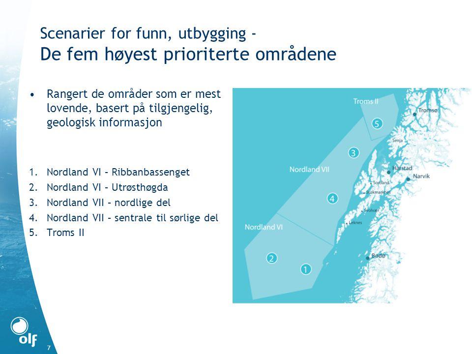 7 Scenarier for funn, utbygging - De fem høyest prioriterte områdene •Rangert de områder som er mest lovende, basert på tilgjengelig, geologisk inform