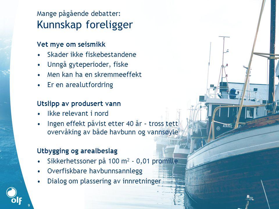 9 Vet mye om seismikk •Skader ikke fiskebestandene •Unngå gyteperioder, fiske •Men kan ha en skremmeeffekt •Er en arealutfordring Utslipp av produsert