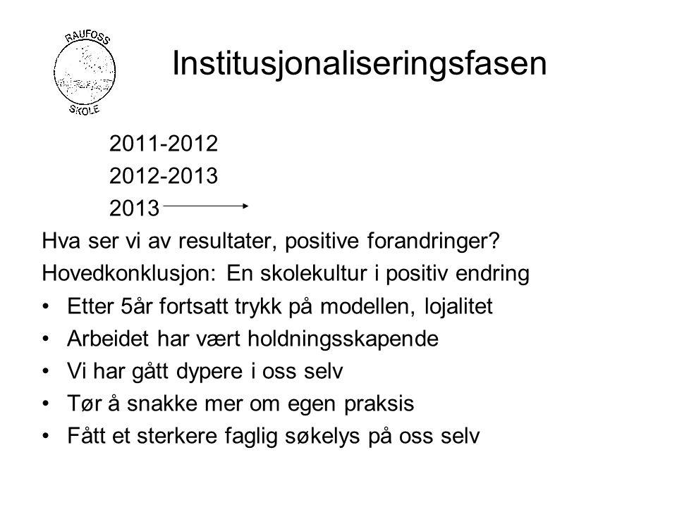 Institusjonaliseringsfasen 2011-2012 2012-2013 2013 Hva ser vi av resultater, positive forandringer.