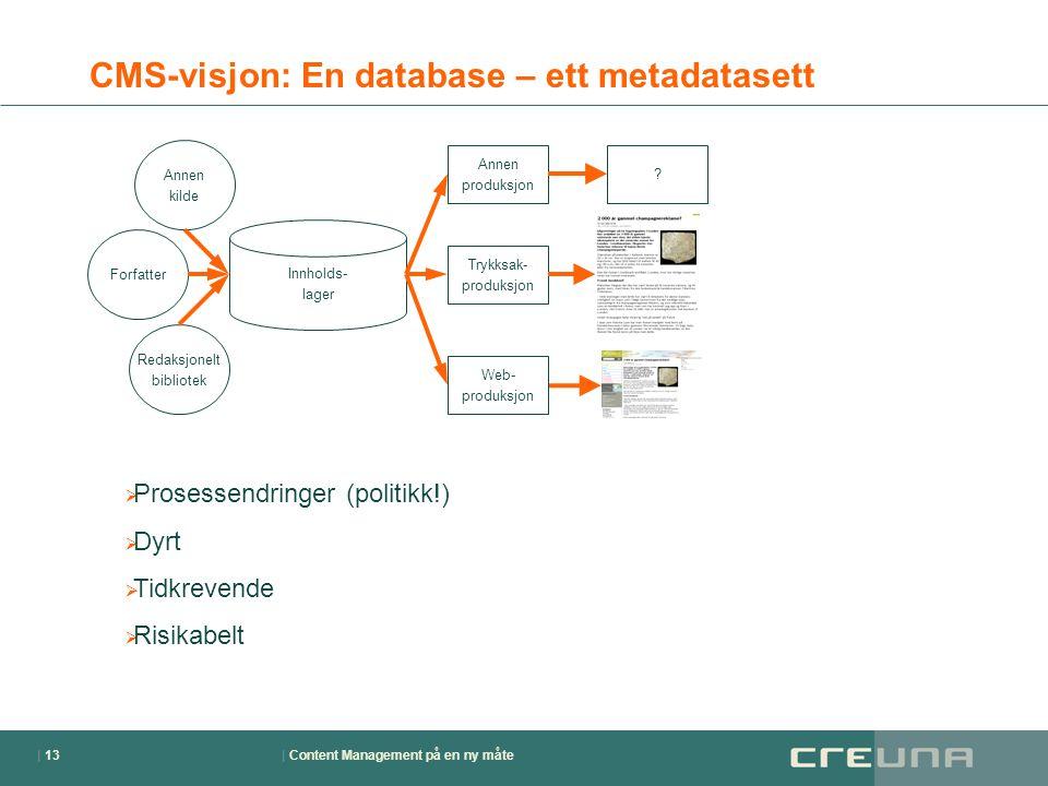 | Content Management på en ny måte| 13 CMS-visjon: En database – ett metadatasett Forfatter Innholds- lager Web- produksjon Annen produksjon ? Trykksa