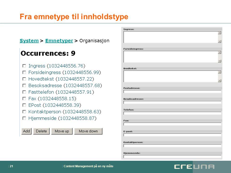 | Content Management på en ny måte| 21 Fra emnetype til innholdstype SystemSystem > Emnetyper > OrganisasjonEmnetyper