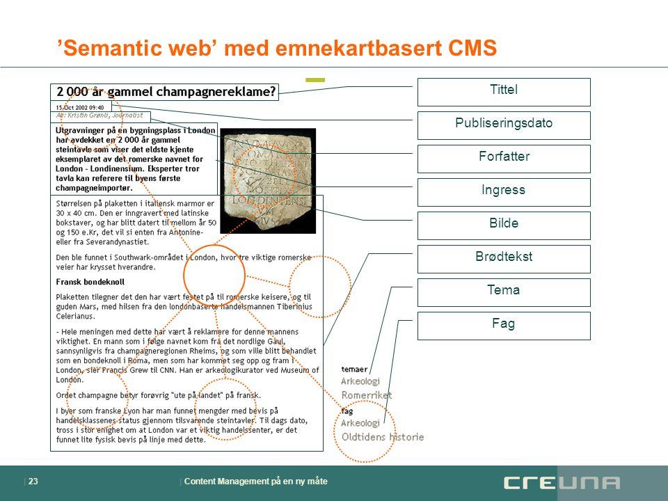 | Content Management på en ny måte| 23 'Semantic web' med emnekartbasert CMS Tittel Publiseringsdato Forfatter Ingress Brødtekst Bilde Tema Fag