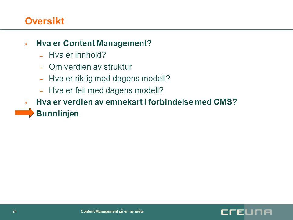 | Content Management på en ny måte| 24 Oversikt • Hva er Content Management? – Hva er innhold? – Om verdien av struktur – Hva er riktig med dagens mod