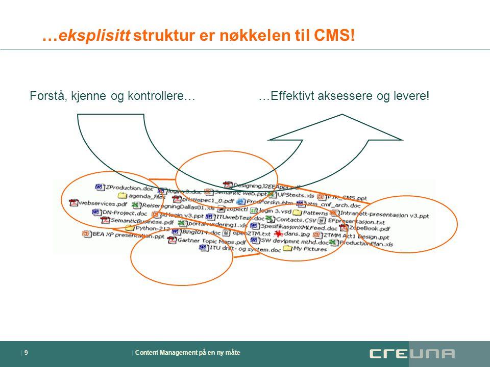 | Content Management på en ny måte| 9| 9 …eksplisitt struktur er nøkkelen til CMS! Forstå, kjenne og kontrollere……Effektivt aksessere og levere!