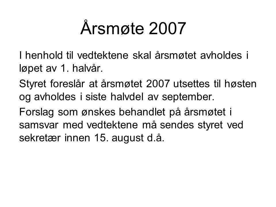 Årsmøte 2007 I henhold til vedtektene skal årsmøtet avholdes i løpet av 1.