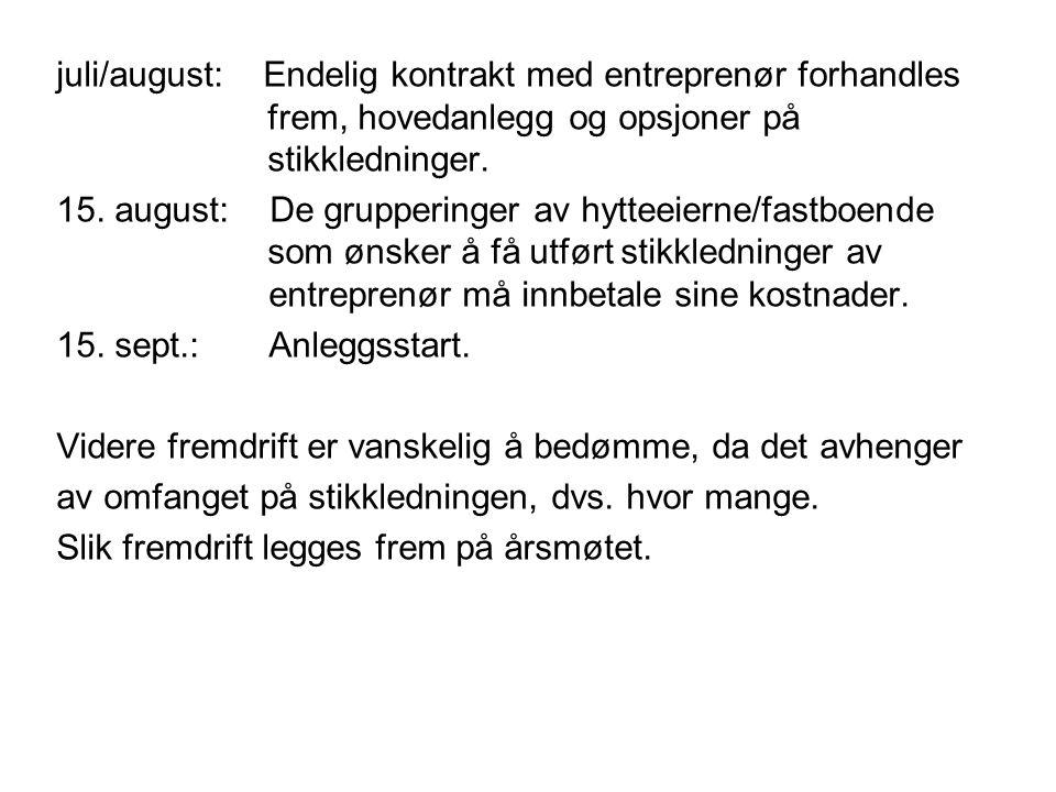 juli/august: Endelig kontrakt med entreprenør forhandles frem, hovedanlegg og opsjoner på stikkledninger.