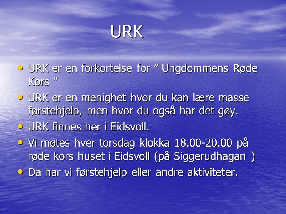"""URK URK •U•U•U•URK er en forkortelse for """" Ungdommens Røde Kors """" •U•U•U•URK er en menighet hvor du kan lære masse førstehjelp, men hvor du også har d"""