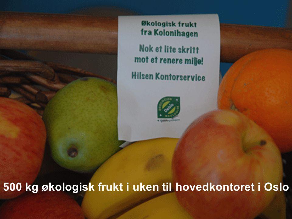 500 kg økologisk frukt i uken til hovedkontoret i Oslo