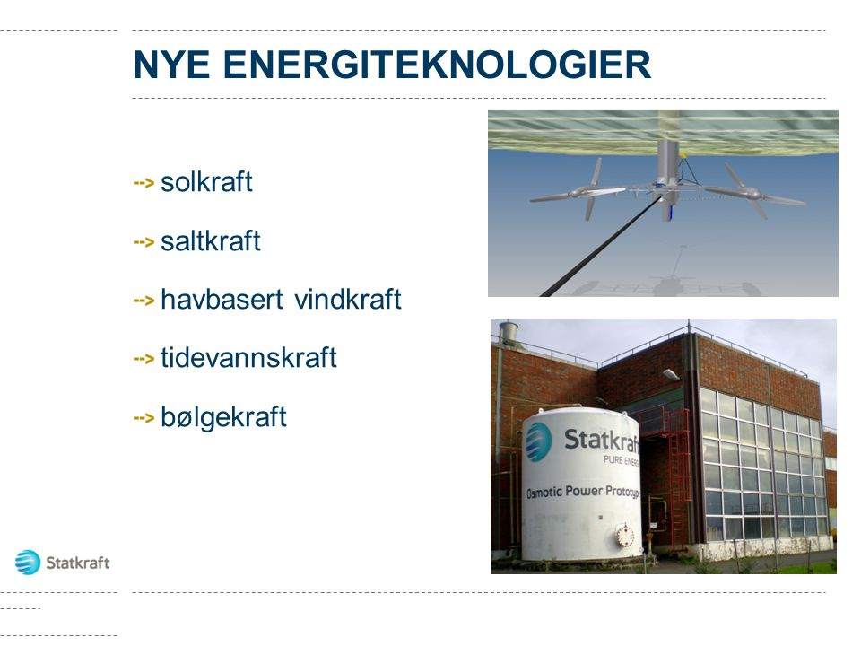 NYE ENERGITEKNOLOGIER solkraft saltkraft havbasert vindkraft tidevannskraft bølgekraft